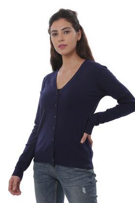 Womens V Neck Solid Cardigan