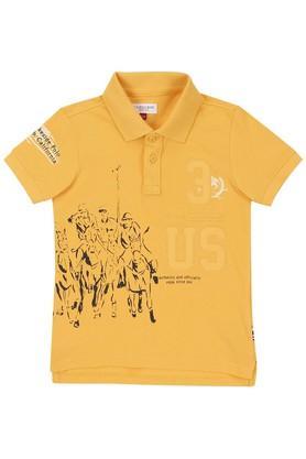 Boys Regular Fit Printed Polo Tee