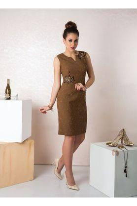 Womens Notched Collar Embroidered Bodycon Dress