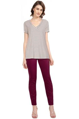 Womens V Neck Stripe Top