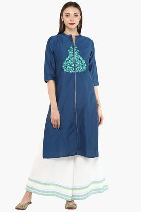 KASHISH Womens Mandarin Neck Embroidered Kurta
