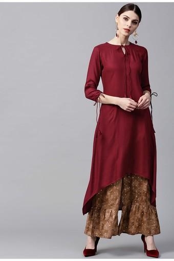 Women Rayon Solid Aline High Low Kurta With Cotton Printed Palazzo