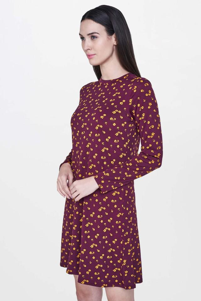 Womens Band Neck Printed Knee Length Dress