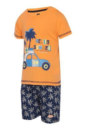 Boys Round Neck Printed Tee and Shorts
