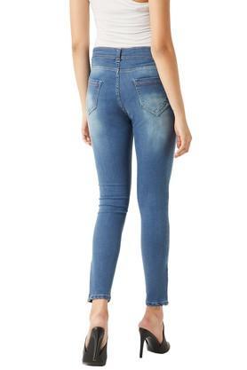 Womens Skinny Fit Denim Distressed Jeans