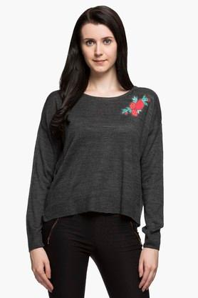 RS BY ROCKY STAR Womens Round Neck Slub Sweater