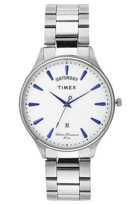 Mens White Dial Metallic Analogue Watch - TWEG16903