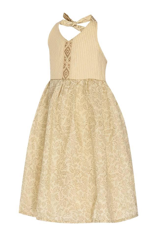 Girls Halter Neck Printed Flared Dress