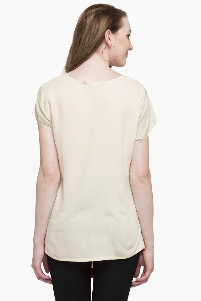 Womens Round Neck Printed Asymmetrical Top