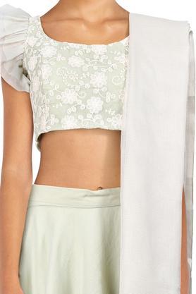 Womens Round Neck Embroidered Lehenga Choli & Dupatta Set