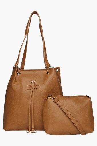 Womens Zipper Closure Tote Handbag with Sling Bag