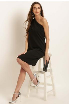 Womens One Shoulder Solid Shift Dress