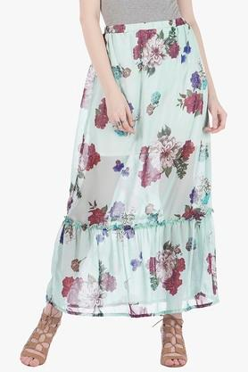 FABALLEY Womens Printed Long Skirt