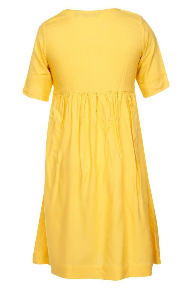 Girls Round Neck Solid Kurta