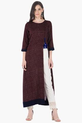INDYA Womens Round Neck Printed Regular Fit Kurta - 203316771