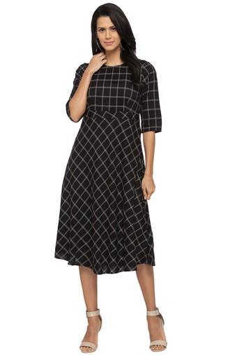 Womens Round Neck Checked A-Line Dress