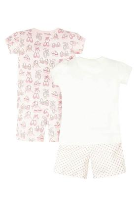 Girls Round Neck Printed Top and Shorts - Pack of 2