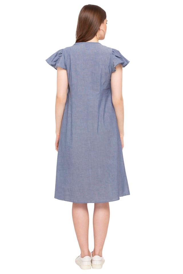 Womens V Neck Slub Shift Dress