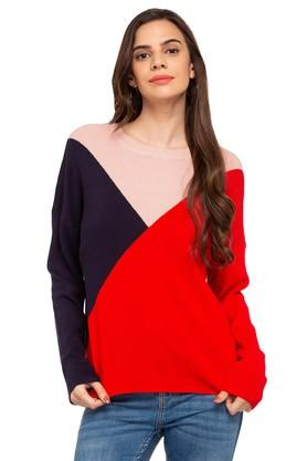 ONLY Womens Round Neck Colour Block Pullover