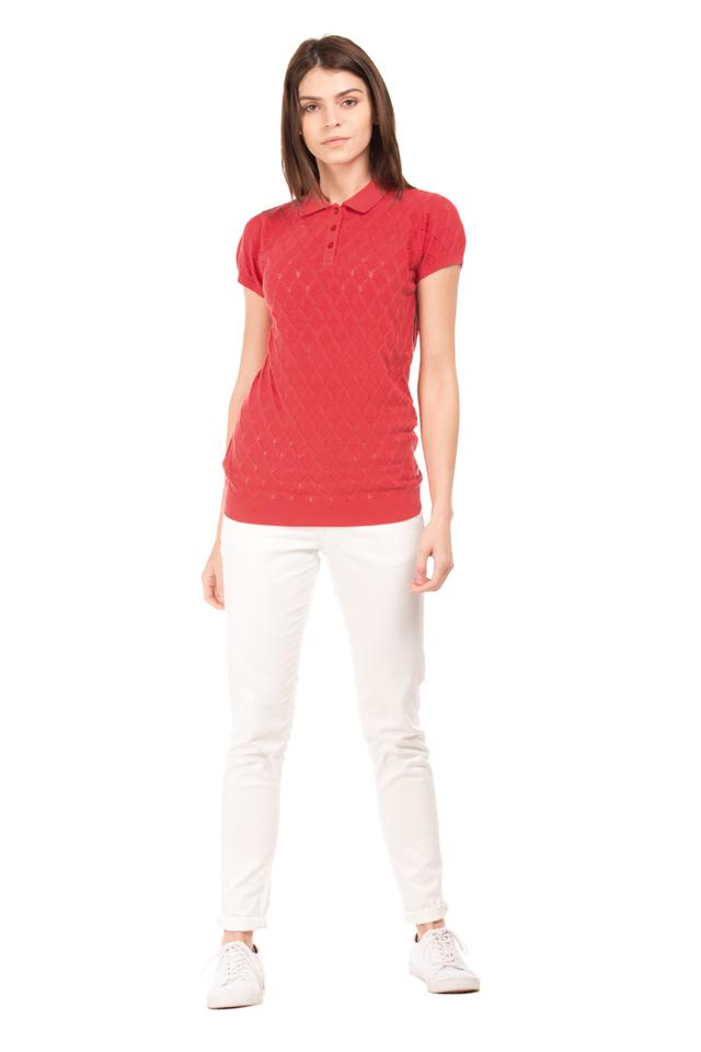 Womens Perforated Polo T-Shirt