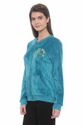 Womens Zip Through Neck Embroidered Jacket