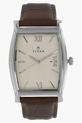 TITANMens Silver Dial Leather Watch - NJ1530SL01