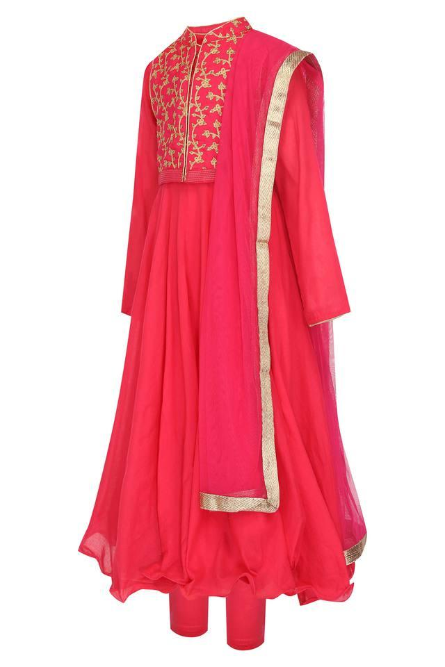 Girls Mandarin Neck Embroidered Anarkali Suit