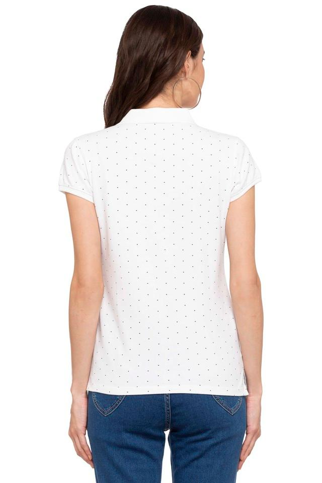 Womens Polo Neck Dot Pattern Tee