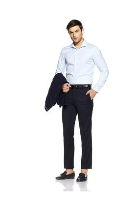 Mens 4 Pocket Slim Fit Solid Formal Trousers