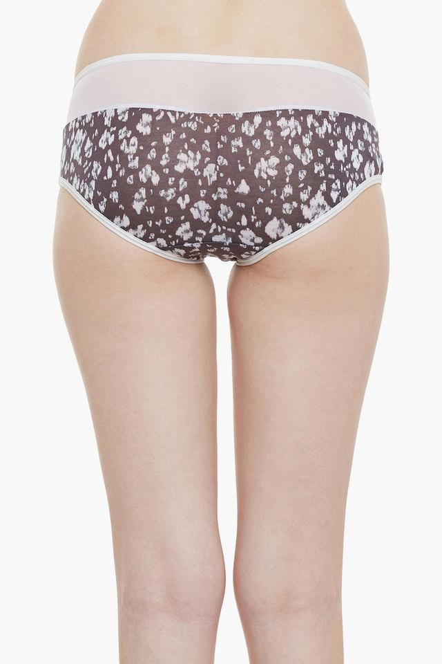 Womens Mid Waist Printed Bikini Briefs