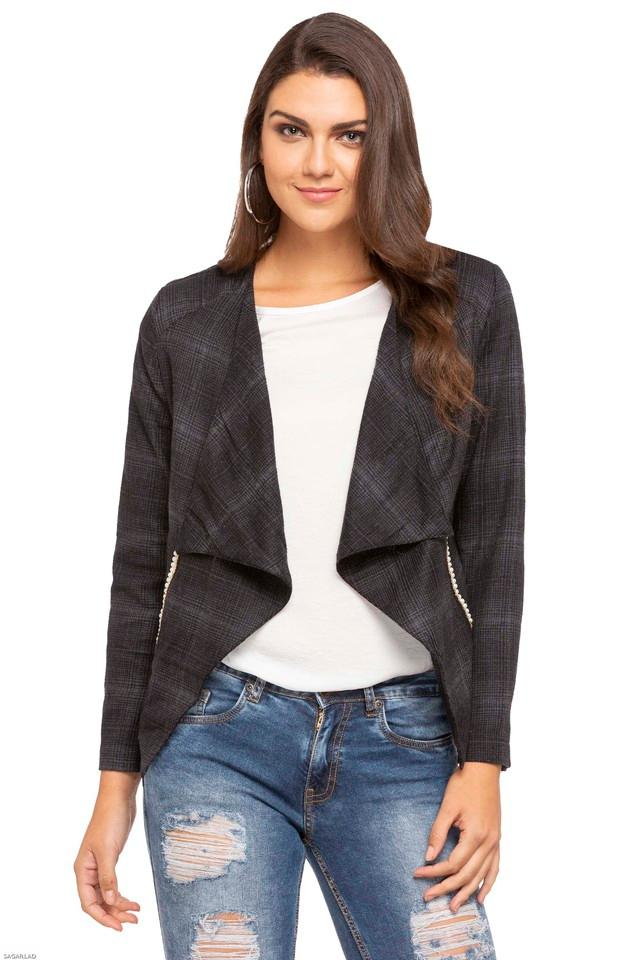 Womens Open Front Check Jacket