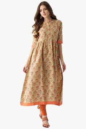 LIBAS Womens Cotton Printed Anarkali Kurta