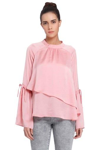 Womens Band Neck Solid Layered Top