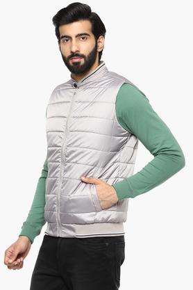 Mens Band Neck Solid Quilted Jacket