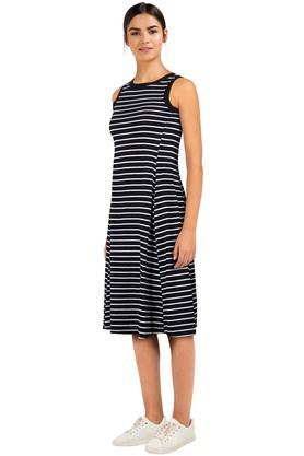 Womens Round Neck Striped Flared Dress