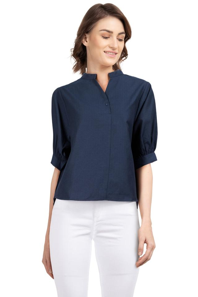 Womens Mandarin Collar Self Printed Shirt