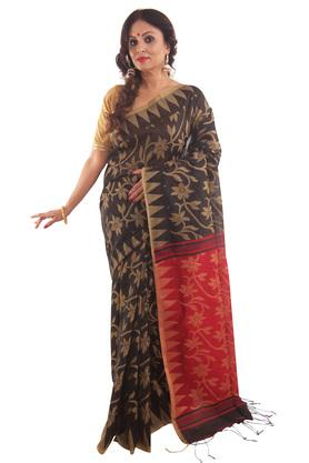 HAST VASTRA Womens Floral Print Saree With Blouse