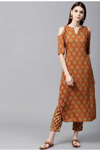 Women Rayon Printed Straight Kurta With Rayon Printed Trouser