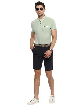 Mens Regular Fit 5 Pocket Solid Shorts