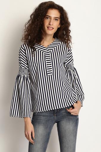 Womens V-Neck Striped Top