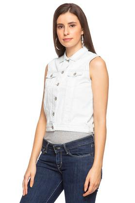 Womens Collared Coated Crop Jacket