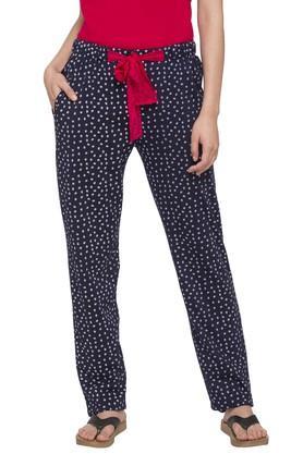 Womens Round Neck Solid Top and Printed Pyjamas Set