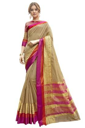 DEMARCAWomens Solid Gold Woven Saree With Blouse Piece - 204771684_9417
