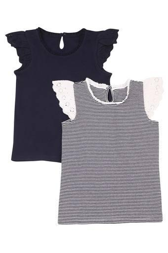 Girls Round Neck Solid and Striped Top - Pack of 2