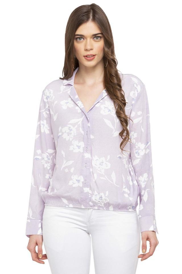 Womens Notched Lapel Floral Print Shirt