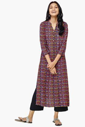 GLOBAL DESI Womens Geometric Print Rolled Up Sleeve Kurta
