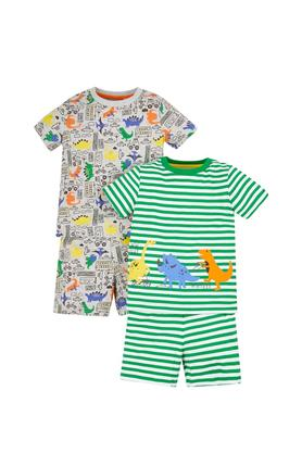 Boys Round Neck Printed and Striped Top and Shorts - Pack Of 2