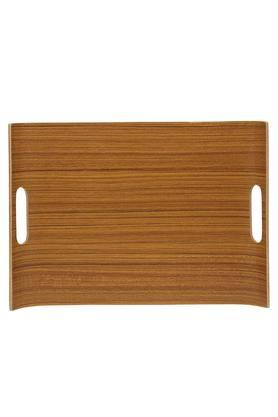 Wooden U-Shaped Textured Tray with Handle