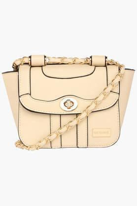 SATYA PAUL Womens Metallic Lock Closure Sling Bag - 203029033