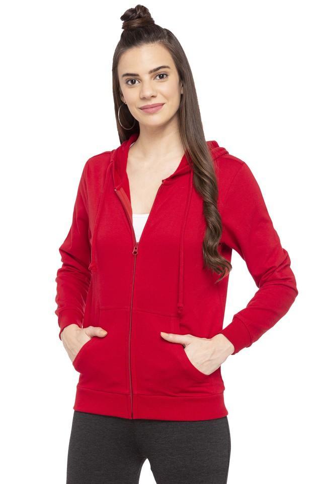 Womens Hooded Solid Embellished Sweatshirt
